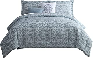 Chezmoi Collection Julian 5-Piece Blue White Textured Jacquard Woven Floral Down Alternative Comforter Set, King