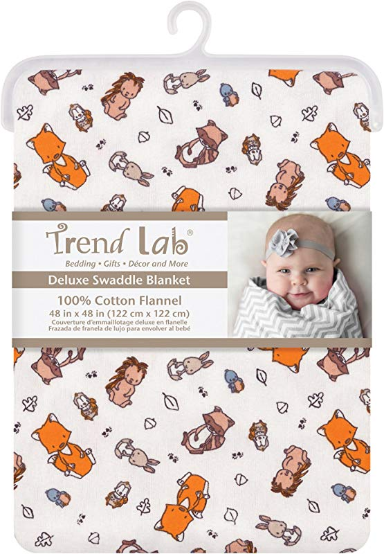 Trend Lab Wild Bunch Jumbo Deluxe Flannel Swaddle Blanket