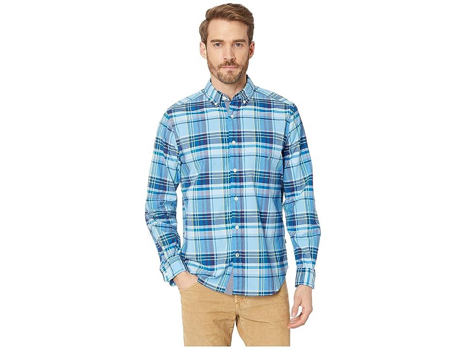 Nautica Long Sleeve Classic Fit Plaid Shirt (Alaskian Blue) Men