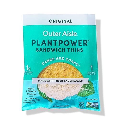 Outer Aisle Gourmet Cauliflower Sandwich Thins | Keto, Gluten Free, Low Carb & Paleo | Original | 24 Sandwich Thins