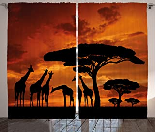 Ambesonne Wildlife Decor Curtains, Safari with Giraffe Crew with Majestic Tree at Sunrise in Kenya, Living Room Bedroom Window Drapes 2 Panel Set, 108W X 84L Inches, Burnt Orange Black