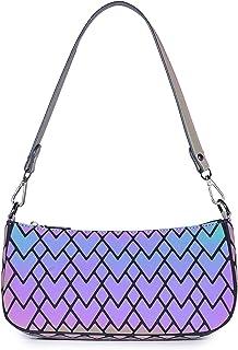 Geometrischer Holographic Schultertasche Damen Handtaschen Tasche Leuchtender Henkeltasche Geometrisch Geschenk für Frauen...