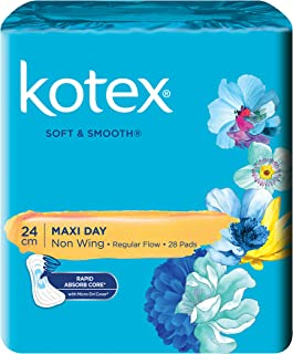 Kotex Soft and Smooth Maxi Non-Wing Feminine Care Pads, 24cm, 28 pads