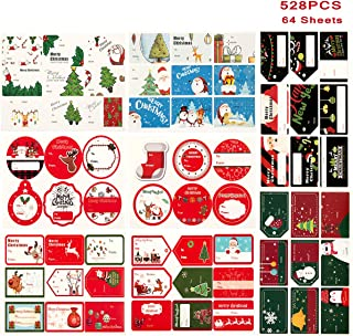 528 Count Christmas Gift Tags Xmas Self Adhesive Name Stickers, 66 Designs Holiday Decorative Labels for Present Wrapping Paper Decorations