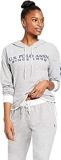 Womens Cuffed Sleeve Athletic Hooded Pajama Lounge Sweatshirt