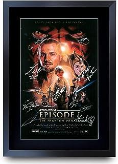 HWC Trading A3 FR Star Wars Episodio I The Phantom Menace The Cast Liam Neeson Ewan McGregor - Póster impreso con autógrafo para los fans de la película, enmarcado A3