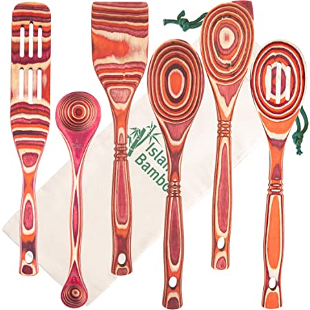 Island Bamboo Pakkawood 6 Piece Utensil Set With Gift Bag Elegant Kitchen Spoon Slotted Spoon Corner Spoon Spatula 13 Spurtle 9 Spurtle For Serving Cooking Non Stick Utensils Kitchen Dining