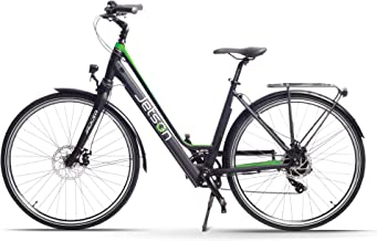 Jetson Journey Electric Bike Battery Powered Road and Commuter Ebike - 9-Speed, Smart LCD Display, Step Thru Frame, Rear Carrying Rack, Front & Rear Disc Brakes (Green)