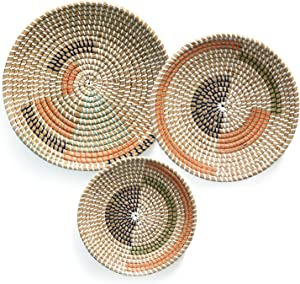 Wall Basket Decor - (Set of 3) - Round Woven Basket Wall Decor - Natural Boho Home Decor - Decor for Home Bedroom, Kitchen, Living Room - Decorative Seagrass Bowl and Trays
