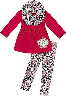AMK Little Girls Fall Colors Thanksgiving Turkey Applique Legging Set w Scarf 3 Piece