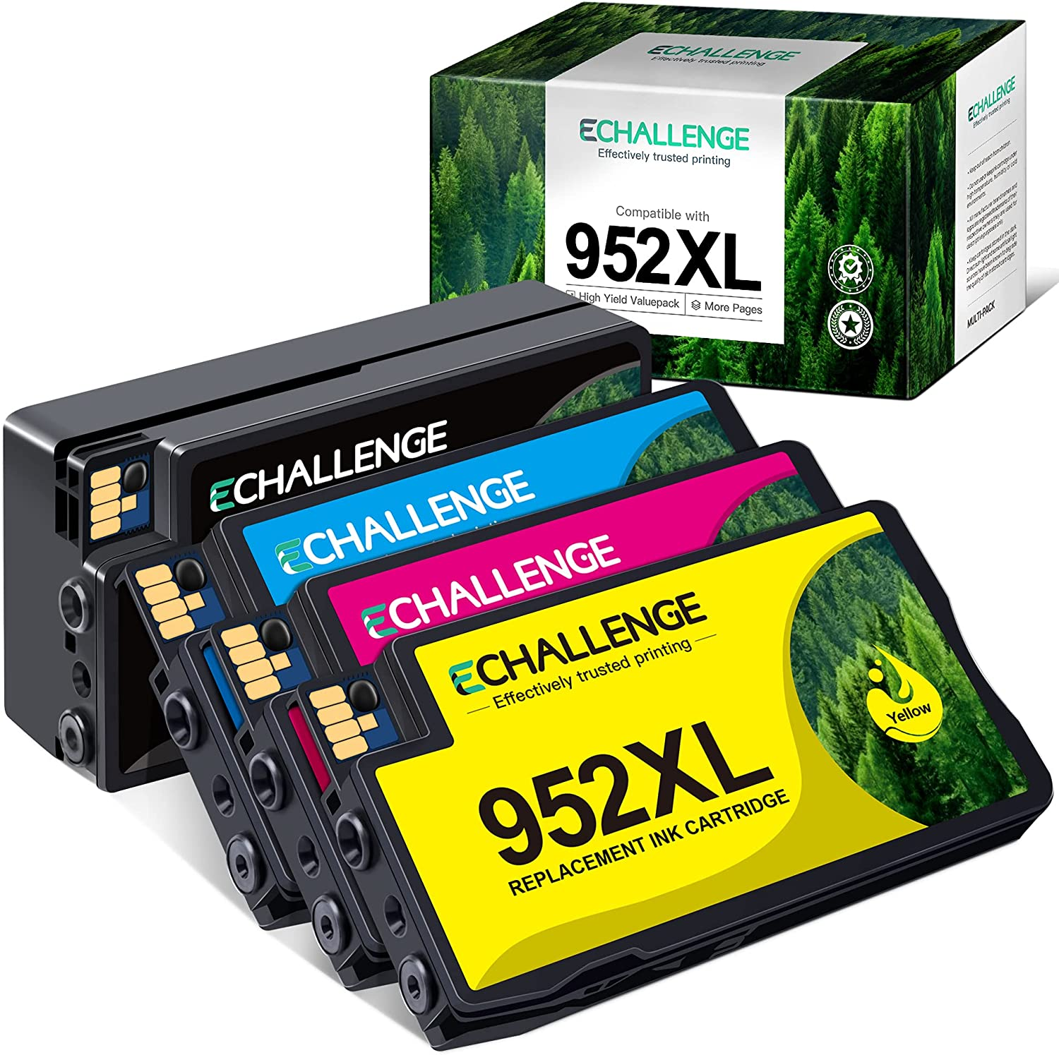 ECHALLENGE Remanufactured Ink Cartridges Replacement for HP 952 XL 952-XL 952XL 952 High Yield to Use with OfficeJet Pro 8210 8710 7740 8720 8715 8730 7720 8702 Printer Tray (4 Pack)