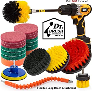 Holikme 22Piece Drill Brush Attachments Set, Scrub Pads Sponge, Power Scrubber Brush with Rotate Extend Long Attachment All purpose Clean for Grout, Tiles, Sinks, Bathtub, Bathroom, Kitchen Automobile