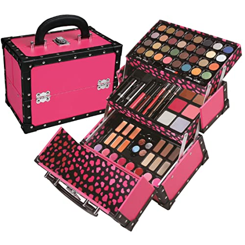 BR Carry All Trunk Train Case with Makeup and Reusable Case Makeup Gift Set (Pink