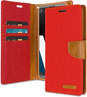 LG V20 Wallet Case with Free 4 Gifts [Shockproof] GOOSPERY Canvas Diary Ver.Magnetic [Denim Material] Card Holder with Kickstand Flip Cover for LG V20 - Red, LGV20-CAN/GF-RED