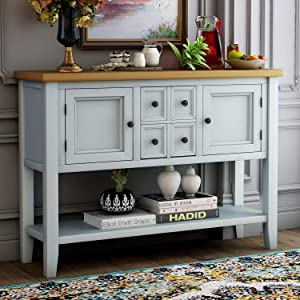 Merax Console Sofa Table Sideboard with Storage Drawers Cabinets and Bottom Shelf for Living Room, Kitchen, Entryway/Hallway, Antique White