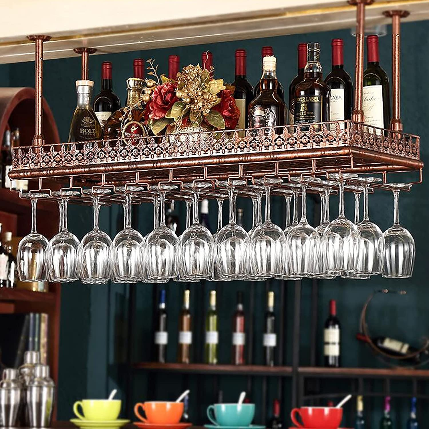 PWE-Adjustable A surprise price is depot realized Metal Ceiling Bar Wine Upsi Glass Rack Iron Retro