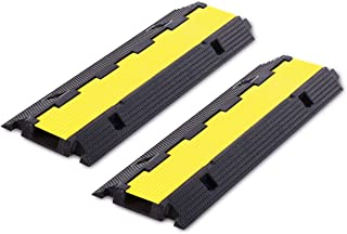 FCOME 2 Pack Rubber Cable Ramp Hose Cable Protector Ramp 1 Channel 22000Lbs Load Capacity Traffic Speed Bump Wires Power Lines Extension Cord Cover for Indoor Outdoor