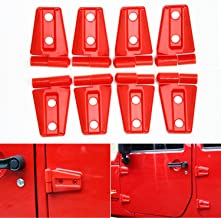 CheroCar Door Hinge Covers Protector Red Kit Fits For Jeep Wranlger Unlimited Rubicon Sahara Sports Accessories 2007-2018 JK JKU 8pcs