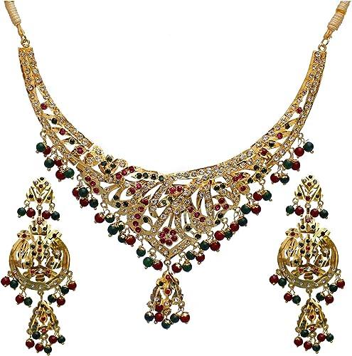 Designer Magenta Green Color Gold Plated Navratan Necklace Set for Girls Women 924 CSN C464 RG