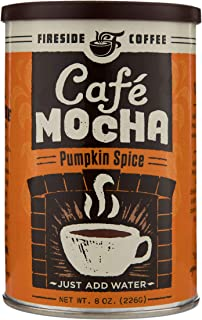 Fireside Coffee Cafe Pumpkin Spice Mocha Instant Flavored Coffee 8 Ounce Canister