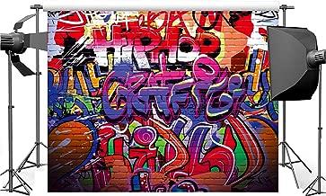 Dudaacvt 7x5 ft Photography Backdrop Hip Hop Graffiti Style Backdrop Vintage Colorful Background Q0140705
