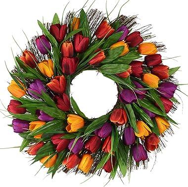 17inch Tulip Wreath Door Wreath,Artificial Flower Tulip Floral Twig Door Wreath Spring Wreath for Front Door Mother Day's Wre