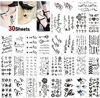 Konsait Temporary Tattoos for Adult Women Men Kids(30 Sheets), Waterproof Temporary Tattoo Fake Black Tiny Tattoos Body Art Sticker Hand Neck Wrist Cover Up Set