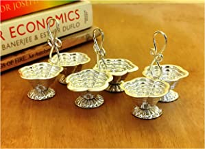 NOBILITY Silver Plated Haldi Kumkum Stand for Pooja | Handmade Haldi and Kumkum Holder for Your Puja Ghar | Pack of 02