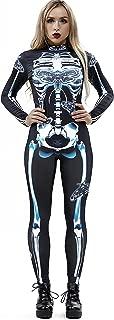 Halloween Costumes for Women 3D Skeleton Cosplay Jumpsuit Bodysuit