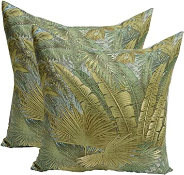 """Resort Spa Home Decor Set of 2 - Indoor/Outdoor Decorative Square Throw/Toss Pillows - Made with Green, Blue, Tan Tropical Palm Leaf - Tommy Bahama Bahamian Breeze Surf Fabric - Choose Size (20"""")"""