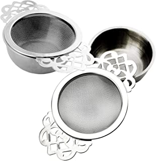 Empress Tea Strainers with Drip Bowls (2 Pack); Elegant Stainless Steel Loose Leaf Tea Strainers (2)