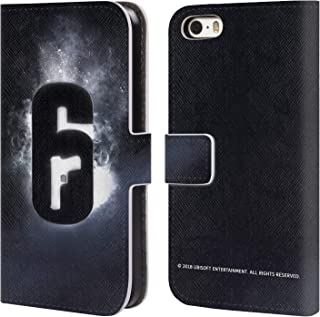 Official Tom Clancy's Rainbow Six Siege Glow Logos Leather Book Wallet Case Cover Compatible for iPhone 5 iPhone 5s iPhone SE
