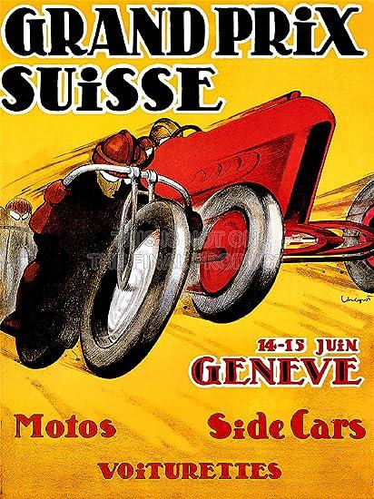 EXHIBITION SPORT MOTORCYCLE SIDECAR GENEVA SWITZERLAND VINTAGE POSTER 858PYLV