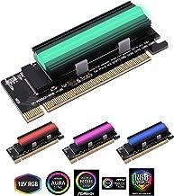 EZDIY-FAB NVME PCIe Adaptador con 12V ARGB disipador de calor SSD Cooler, M.2 NVME SSD a PCI Express Adaptador con ARGB Heat Sink Support PCIe x4 x8 x16 Slot, Support M.2 Key M SSD 2230 2242 2260 2280