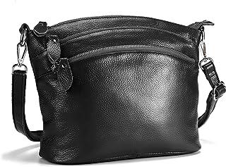 Lecxci Genuine Leather Crossbody Purse Zipper Makeup Wallet Shoulder Bag for Lady