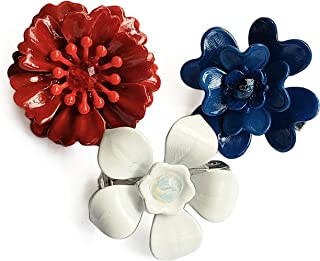 Tiny Mini Red White and Blue Enamel Flower Brooches (Set of 3)