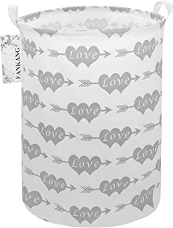 FANKANG Storage Bins Nursery Hamper Canvas Laundry Basket Foldable with Waterproof PE Coating Large Storage Baskets, Office, Bedroom, Clothes, Toys Baby Shower Basket (Double Heart Arrow)