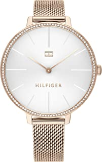 Tommy Hilfiger Women'S White Dial Ionic Plated Carnation Gold Steel Watch - 1782115
