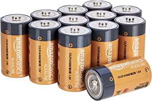 Amazon Basics 12 Pack C Cell All-Purpose Alkaline Batteries, 5-Year Shelf Life, Easy to Open Value Pack