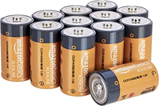 AmazonBasics C Cell 1.5 Volt Everyday Alkaline Batteries – Pack of 12 (Appearance may vary)