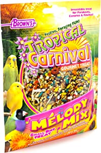 F.M. Brown'S Tropical Carnival Melody Mix Small Bird Foraging Treat, 5-Oz Bag - Fruits, Veggies, Grains, Seeds, And Herbs For Parakeets, Canaries, And Finches