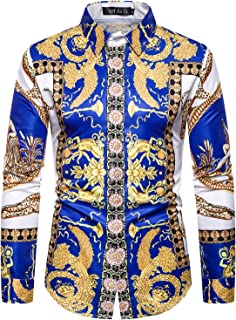 ief.G.S Men's Print Dress Shirt, Fashion Long Sleeve Luxury Design
