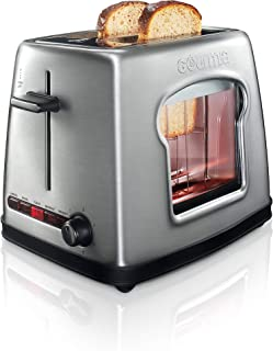 Gourmia GWT430 Wide Mouth 2 Slice Bread & Bagel Toaster - See Through Window for Easy Viewing - 4 Preset Settings - 6 Browning Levels - All Removable Parts for Easy Clean