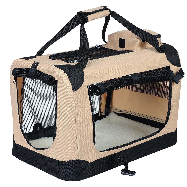 EUGAD Bolsa de Transporte para Mascotas Transportín de Mascotas Perros Gato Plegable para Coche Viaje Avion con Cojín Acolchada, M/60x42x42 cm Beige 0110HT: Amazon.es: Productos para mascotas