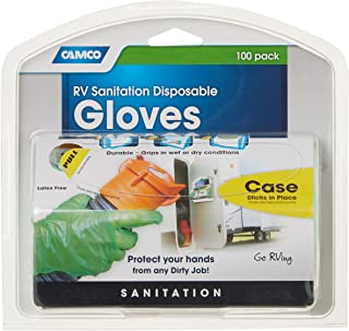 Camco Durable All Purpose RV Disposable Sanitation Gloves, Will Grip in Wet or Dry Conditions, Latex and Powder Free, Heav...