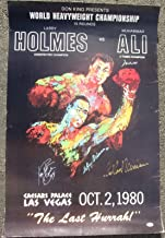 Muhammad Ali Larry Holmes LeRoy Neiman 3x signed 1980 Fight Poster PSA/DNA