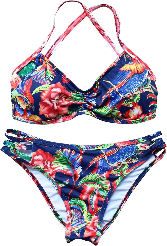 RUUHEE Women Halter Sexy Bikini Set 2 Piece Floral Printing Swimwear