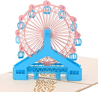 3D Pop Up Greeting Card - Magical Ferris Wheel Ride To Cloud Top - Birthday Cards Graduation Cards Thank You Wedding Invitation Cards By SolarMatrix