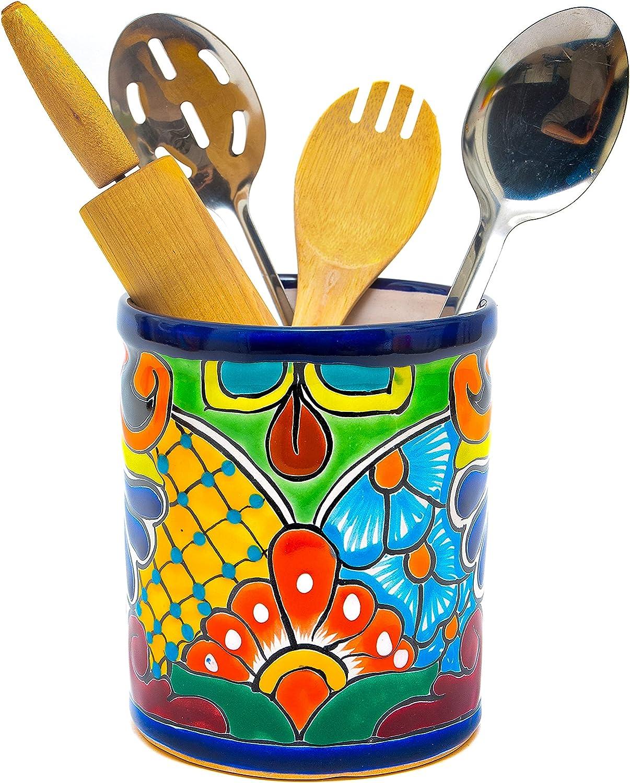 New York Mall Enchanted Talavera Hand Painted Canister Holder Portland Mall Utensil Ceramic