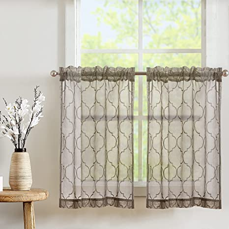 Amazon Com Jinchan Kitchen Curtains 36 Inch Length Moroccan Tile Embroidered Design Bathroom Window Curtain Rod Pocket Sheer Cafe Curtains 2 Panels Brown Kitchen Dining